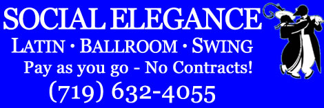 Social Elegance Latin, Ballroom, and Swing dance classes, private lessons, and social dances in Colorado Springs.  Pay as you go - No Contracts!  (719) 632-4055